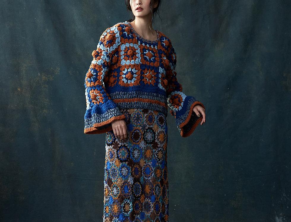 F820 | Wool Chunky Stitch Crochet Pullover
