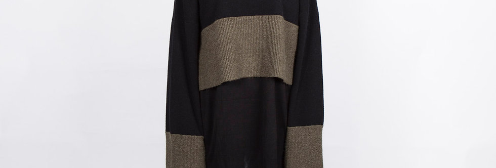 W64A | Duo Color Long Sleeve Turtleneck Sweater