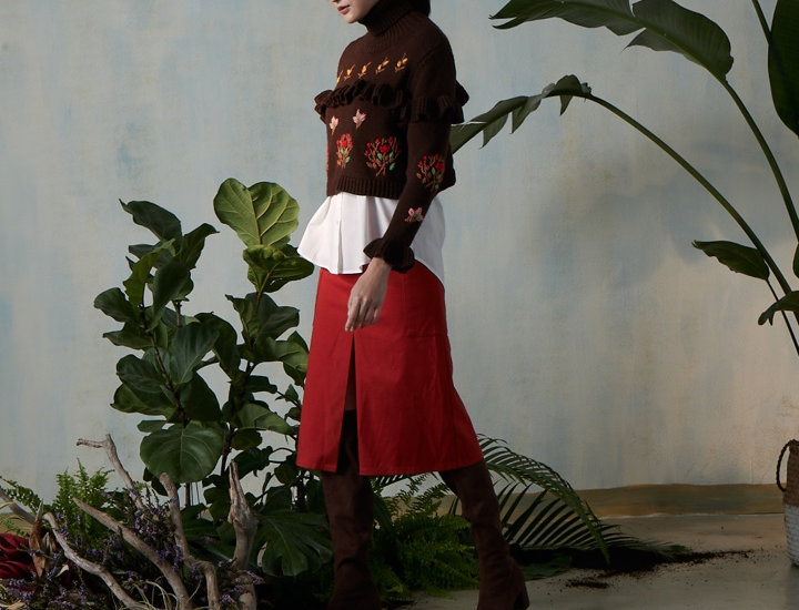 Embroidery Pullover with Ruffles