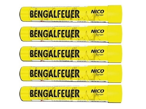 Bengalfeuerfackel gelb, 5er Pack
