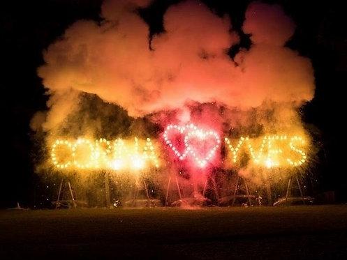 Feuerschrift brennendes Doppel Herz
