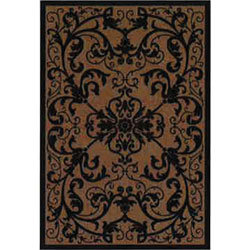 Orian Texture Weave Rugs - Scroll Black