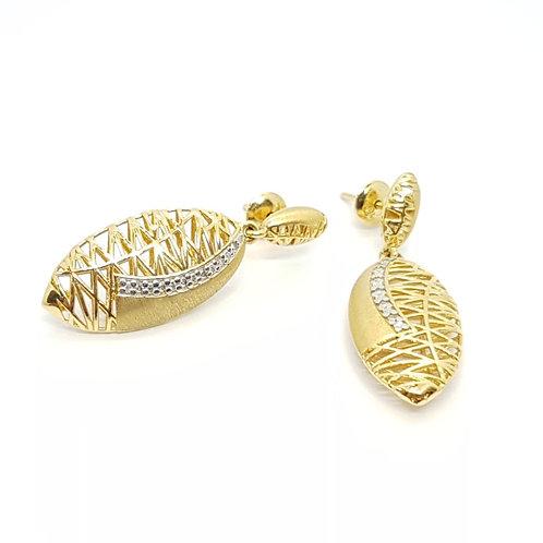 Brinco em Ouro Amarelo Trabalhado com Diamantes Coleção Enigma Fattini