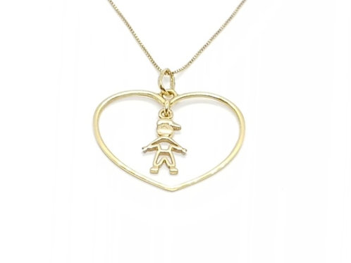 Pingente Medalha Coração com Menino Ouro Amarelo Fattini