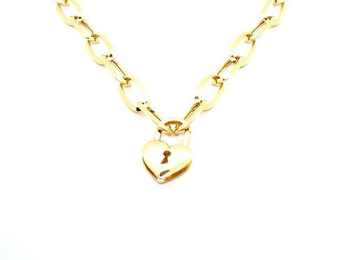 Colar com Pingentes Cadeado de Coração em Ouro Amarelo