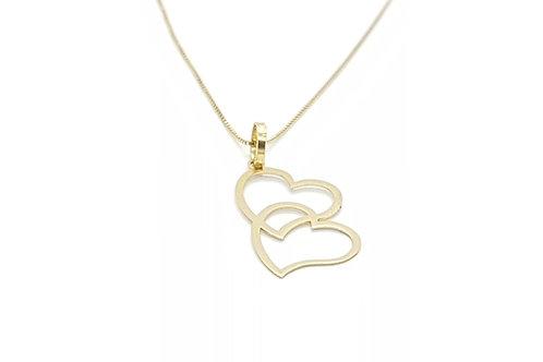 Pingente Amor com Coração duplo em Ouro Amarelo Fattini