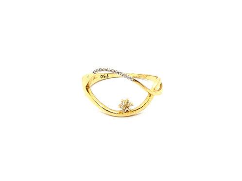 Anel com Brilhantes em Ouro Amarelo com Coleção Fattini