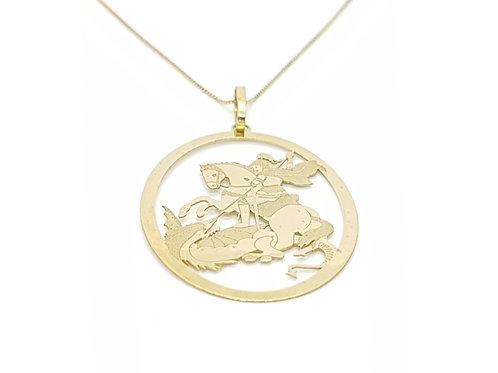 Pingente Medalha São Jorge em Ouro Liso e Escovado Amarelo Fattini