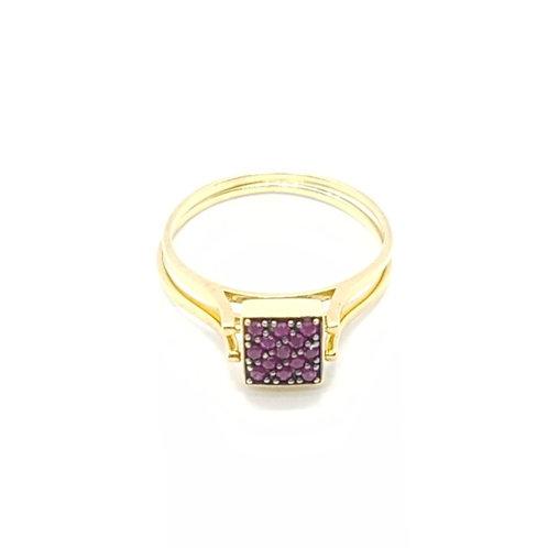 Anel 2em1 em Ouro Amarelo com Pavês Diamantes e Rubis Coleção Cores Fattini