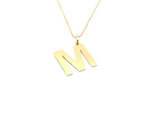 Pingente Letra M em Ouro Amarelo Fattini