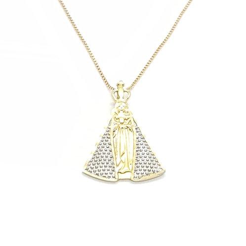 Pingente Nossa Senhora em Ouro Amarelo com detalhes em Ródio Branco Fattini