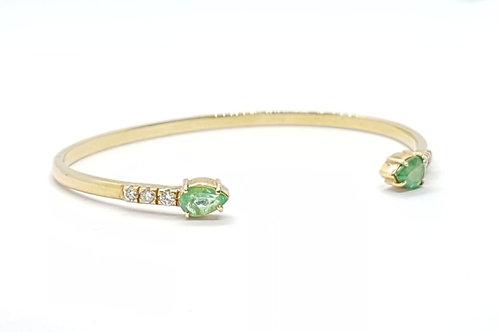 Pulseira Bracelete com Esmeraldas e Brilhantes Feminina Ouro Amarelo Fattini