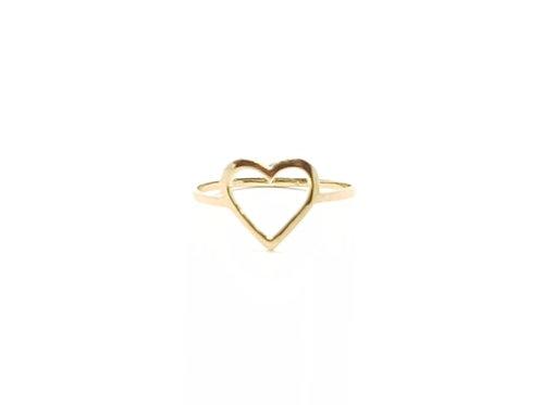 Anel de Coração em Ouro Amarelo Coleção Love