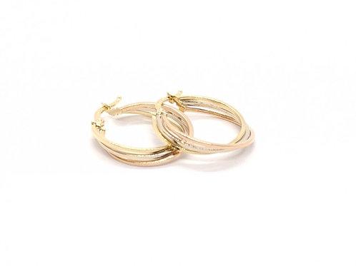 Brinco Argola em Ouro Amarelo, Branco e Rose Coleção Inspired Fattini