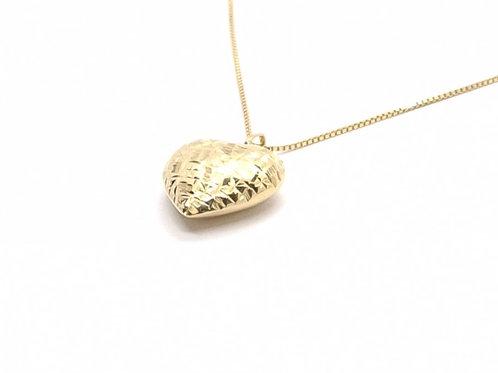 Pingente Coração em Ouro Liso e Escovado Amarelo Fattini