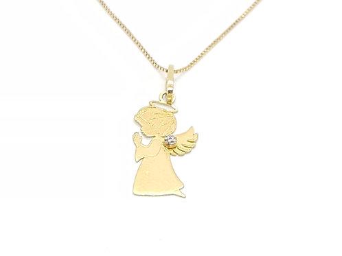 Pingente Anjo da Guarda em Ouro Amarelo com Pedra Zircônia Fattini