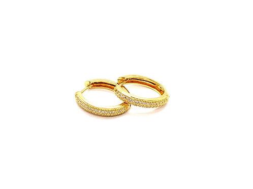 Brinco Argola Oval em Ouro Amarelo e Zircônia Coleção Inspired Fattini