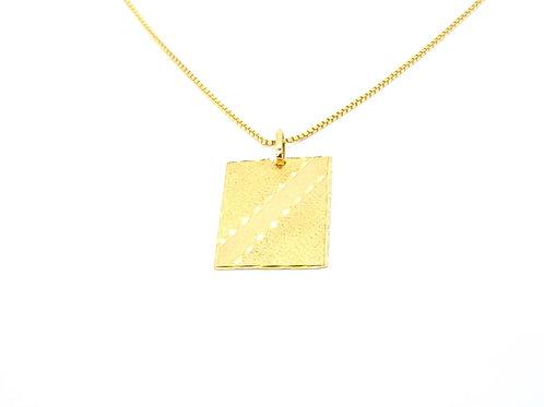 Pingente Placa Trabalhado em Ouro Amarelo com Fosco Fattini