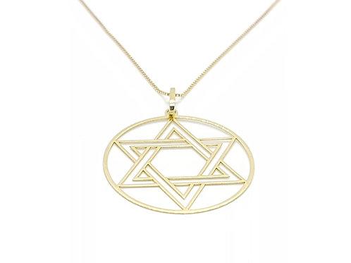 Pingente Medalha Estrela de Davi Ouro Amarelo Fattini