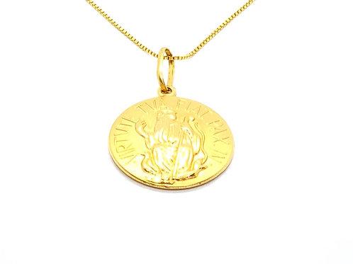 Pingente Medalha São Bento em Ouro Amarelo Fattini