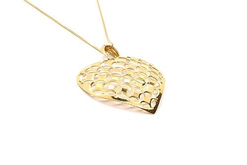 Pingente Coração Vazado em Ouro Liso e Escovado Amarelo Fattini