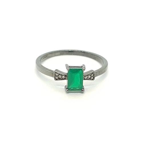 Anel em Ouro com Ródio Negro e Agata Verde e Diamantes Coleção Moments Fattini