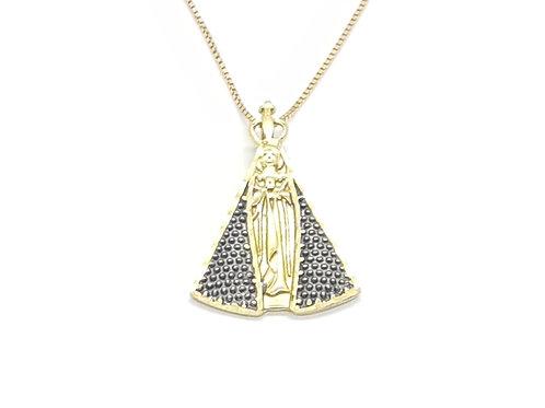 Pingente Nossa Senhora em Ouro Amarelo com detalhes em Ródio Negro Fattini