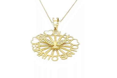 Pingente Medalha Espirito Santo em Ouro Amarelo com Zircônia Fattini