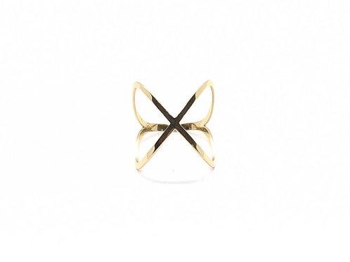 Anel X em Ouro Amarelo Coleção Enigma Fattini