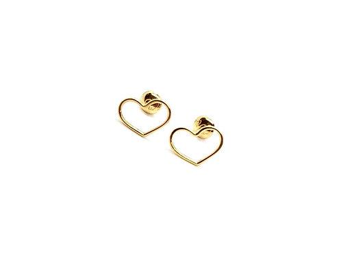 Brinco Coração em Ouro Amarelo Coleção Love Fattini