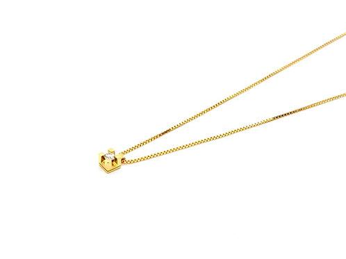 Corrente Feminina Veneziana 45cm Ponto de Luz Brilhante Ouro Amarelo Fattini