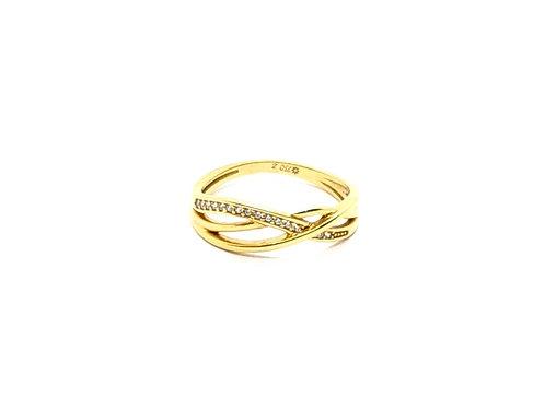 Anel com Zircônia em Ouro Amarelo com Coleção Fattini