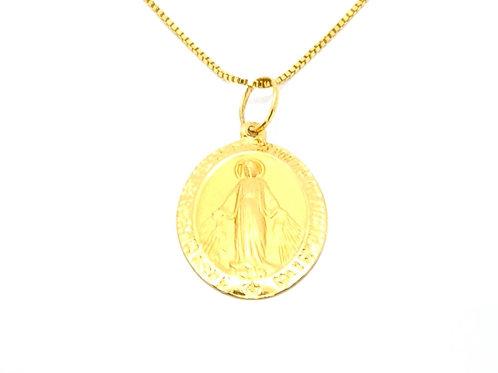 Pingente Medalha Nossa Sra das Graças em Ouro Amarelo Fattini