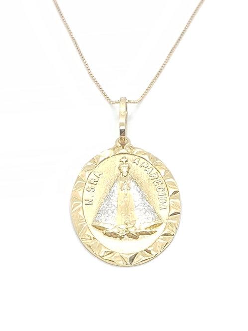 Pingente Medalha Nossa Senhora em Ouro Amarelo com Ródio Branco Fattini