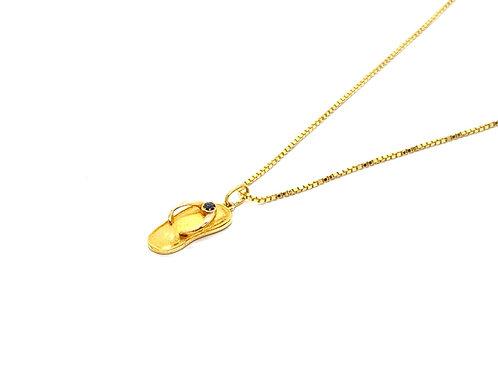 Pingente Chinelo com Safira em Ouro Amarelo Fattini