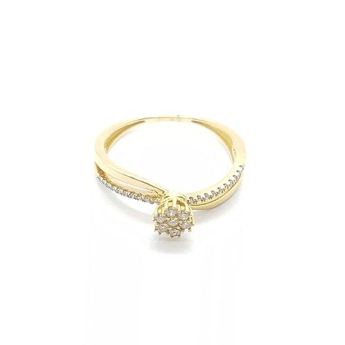 Anel em Ouro Amarelo com Pavê Diamante Coleção Amor Eterno Fattini