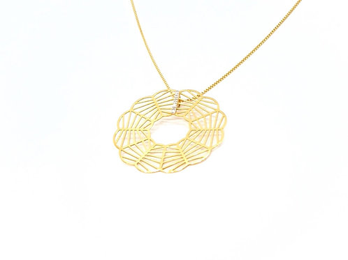 Pingente Mandala em formato de Flor Ouro Amarelo com Brilhantes Fattini