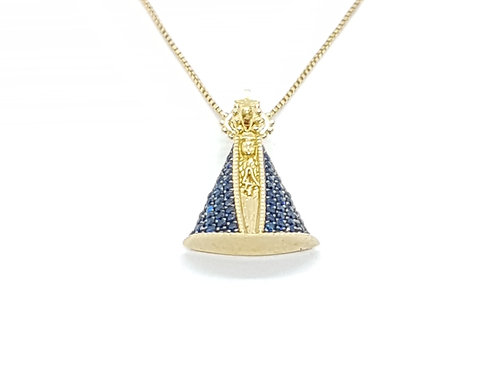 Pingente Nossa Senhora Ouro Amarelo com Zircônia Azul Fattini