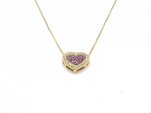 Colar Coração em Pedras Rubi e Brilhantes Venezia em Ouro Amarelo Fattin