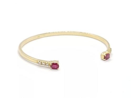 Pulseira Bracelete com Rubi e Brilhantes Feminina Ouro Amarelo Fa