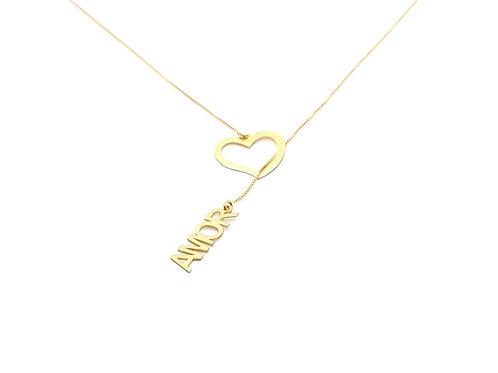 Colar Gravata com Pingentes  Amor e Coração em Ouro Amarelo