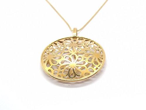 Pingente Mandala Flor Ouro Amarelo Coleção Fattini