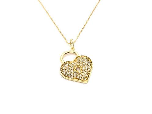 Pingente Cofre do Coração com Brilhante Ouro Amarelo