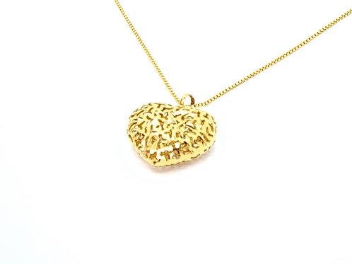 Pingente Coração Trabalhado em Ouro Amarelo Fattini