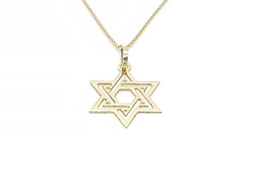 Pingente Estrela de Davi em Ouro Amarelo Fattini