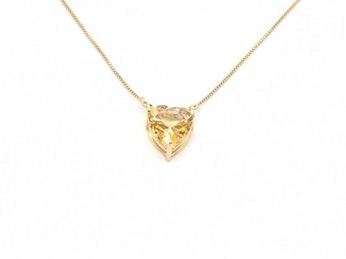 Colar Coração com Topázio Citrino 45cm em Ouro Amarelo Fatti
