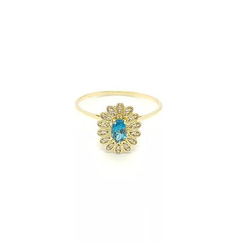 Anel em Ouro com Topázio London e Diamantes Coleção Cores Fattini