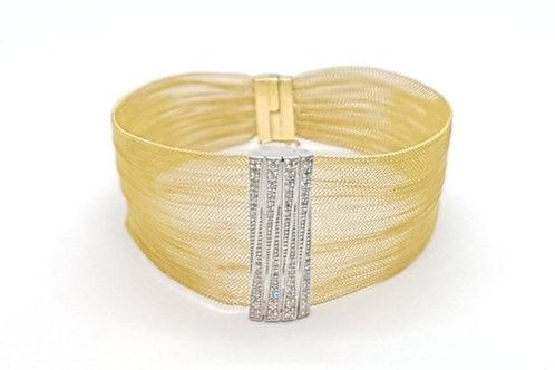 Pulseira Bracelete com Brilhantes Feminina Ouro Amarelo