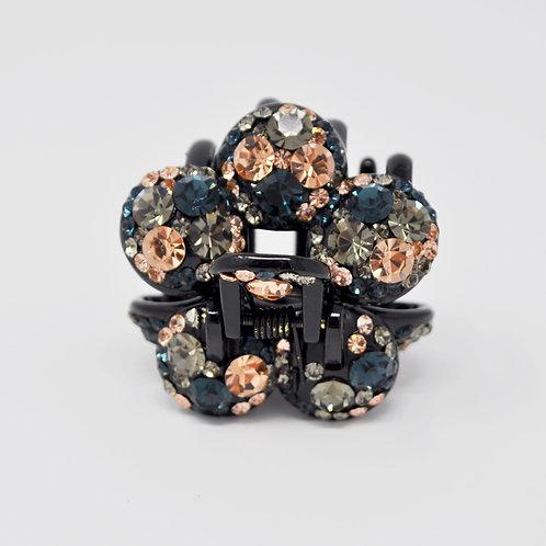 Hair Claw Clip - Hand Crafted Rhinestone Flower Ball Clip - Green, Blue, Gold