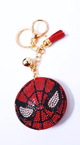 Handbag Charm Keychain - Bling Crystal Spiderman Face